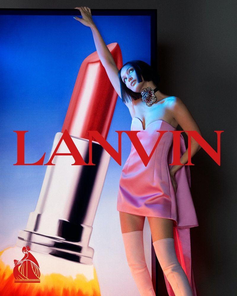 Bella Hadid poses in pink dress for fall-winter 2021 campaign. Photo: Mert & Marcus, Artwork: James Rosenquist