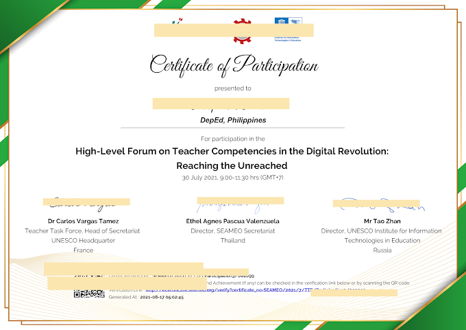 SEAMEO Certificate of Participation for July 30 Webinar, now available for Download!