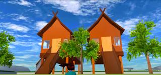 ID Rumah Adat Kalimantan Tengah Di Sakura School Simulator