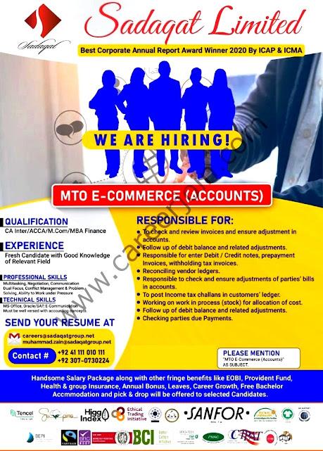 Sadaqat Limited Latest  Jobs MTO-E Commerce Accounts
