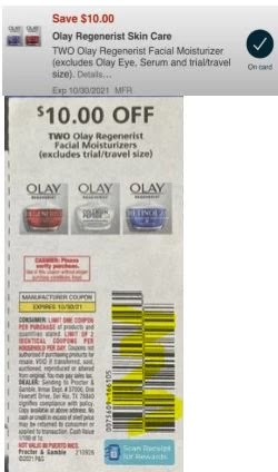 """$10/2 Olay Coupon from """"P&G"""" insert week of 10/10/21, or CVS App."""