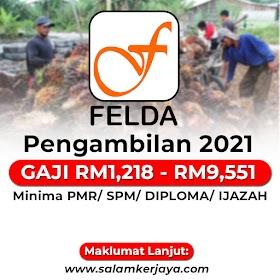 FELDA Buka Pengambilan Pelbagai Kekosongan Jawatan Terkini Seluruh Malaysia ~ GAJI RM1,218 - RM9,551 / Minima PMR Layak Memohon!
