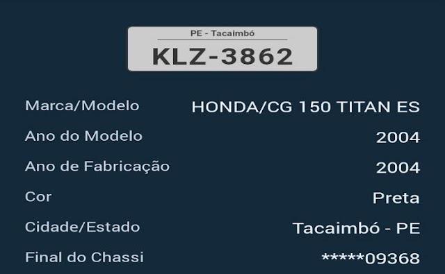 Moto roubada na BR-232 em Tacaimbó