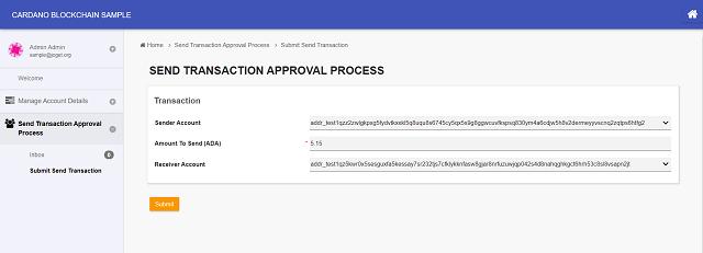 Start the Send Transaction Approval Process