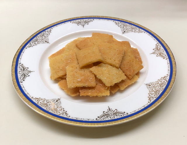 Plate of prepared keto cheese crackers