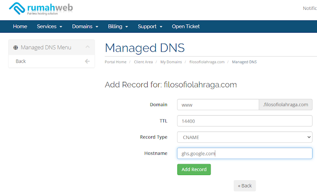 cara setting domain blog