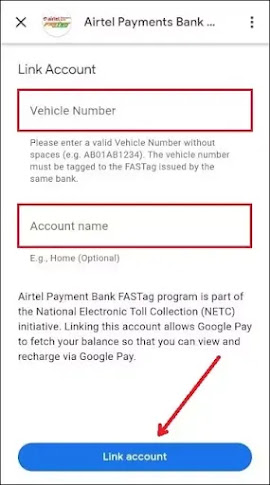 Enter vehicle number and your name and click on Link account