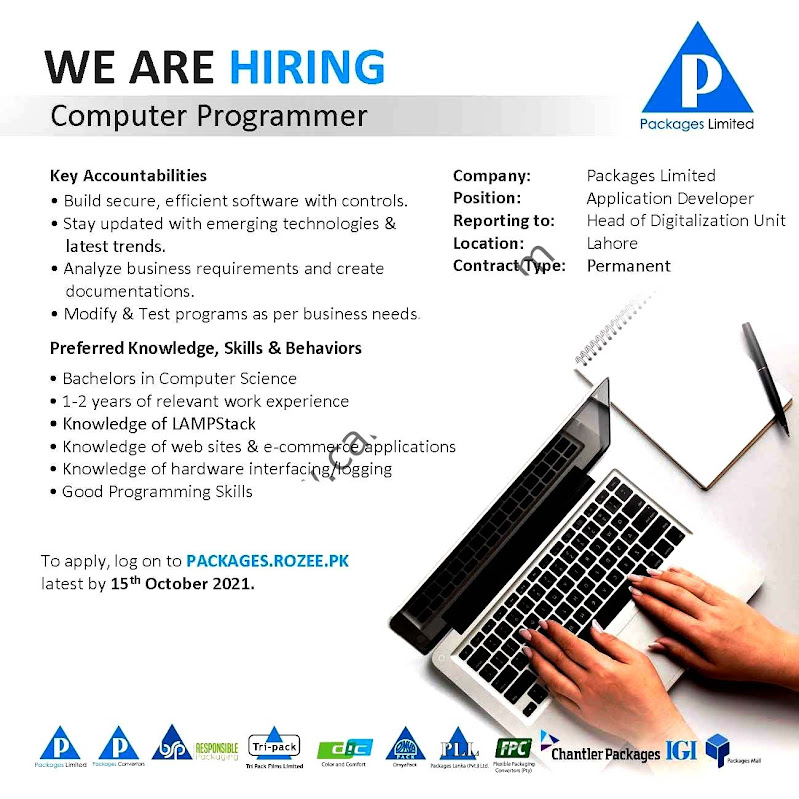 Packages Limited Latest  Jobs For  Computer Operator