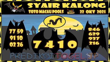 Syair Kalong Toto Macau Hari Ini 22 Oktober 2021