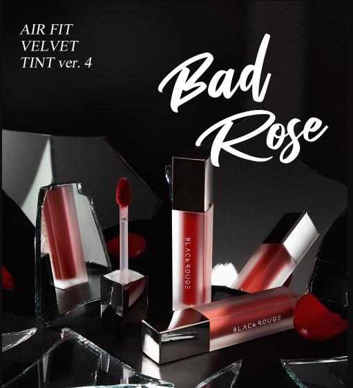 Review son Black Rouge Air Fit Velvet Tint Ver 4 Bad Rose, full bảng màu son