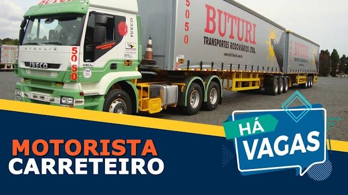 Transportadora Buturi abre vagas para motorista carreteiro