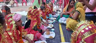नवमी को कुंवारी कन्याओं को कराया गया भोजन  | #NayaSaberaNetwork