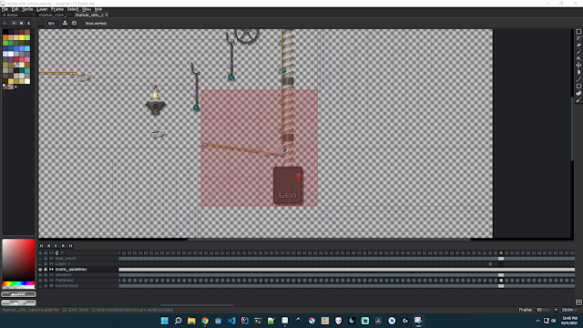 A screenshot of the Aseprite editor, showing the camera viewport guidelines for my marble-track animation.
