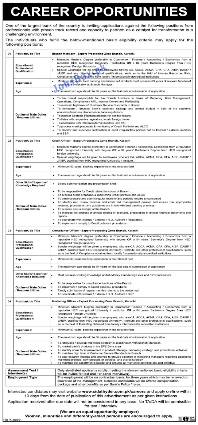 Today Banking Latest Jobs  October 2021 in Pakistan – Apply Online at sidathyder.com.pk