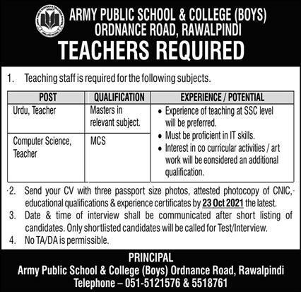 Army Public School and College Rawalpindi Jobs 2021