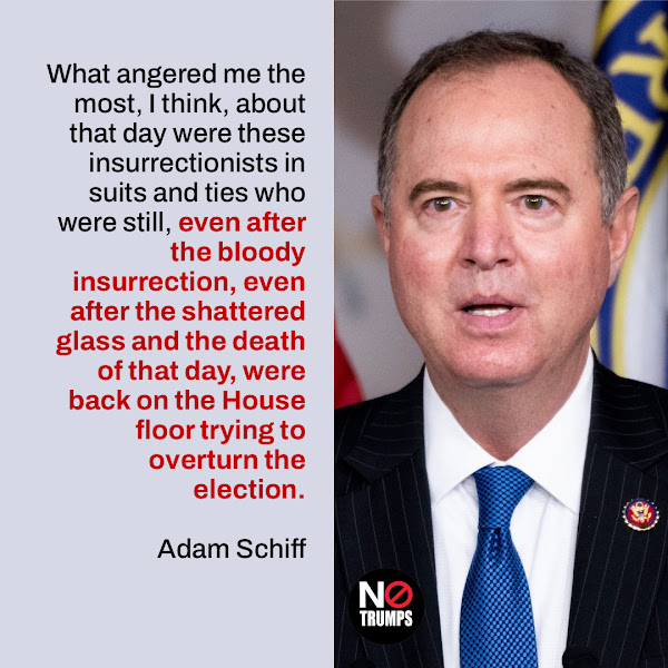 What angered me the most, I think, about that day were these insurrectionists in suits and ties who were still, even after the bloody insurrection, even after the shattered glass and the death of that day, were back on the House floor trying to overturn the election. — Rep. Adam Schiff (D-CA)