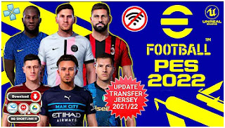 Download eFootball PES 2022 PPSSPP Hair 4K Edition Peter Drury Comentary New Update Transfer & Kits 2021/22