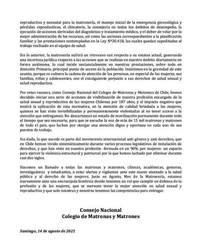 Movilizaciones del Colegio de Matronas