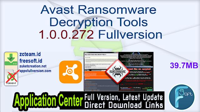 Avast Ransomware Decryption Tools 1.0.0.272 Fullversion