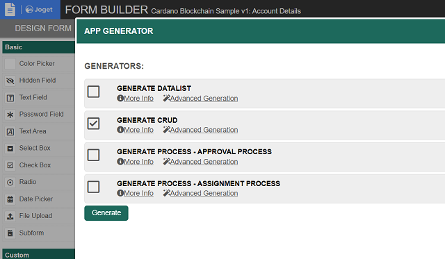 App Generator - Generate CRUD