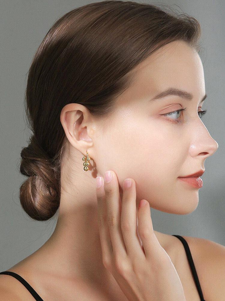 金屬個性風圓珠耳環