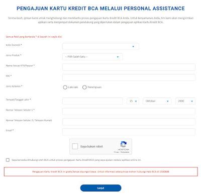 Pengajuan Kartu Kredit BCA Lewat BCA Web-FORM