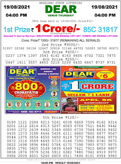 Nagaland State Lottery Result Today 19.08.21 ,4PM