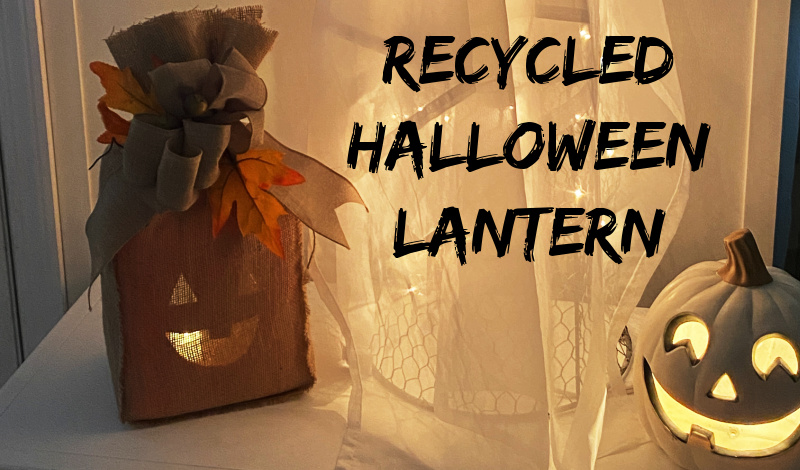 Recycled Burlap Halloween Pumpkin Lantern