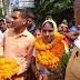 मुखिया प्रत्याशी पद के लिए उत्तरी बराॅरा पंचायत से सूर्यमणि कुमारी अपने समर्थकों के साथ गुरुवार को नामांकन भरा