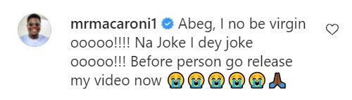 Abeg we no be Virgins na Joke o- Comedian Broda shaggi and Mr macaroni denies being a virgin