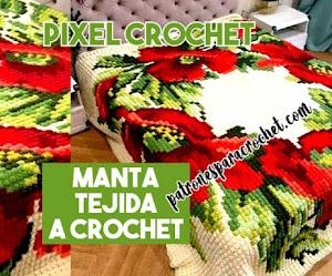 Manta cubrecama en crochet pixelado   Patrones y cómo se teje