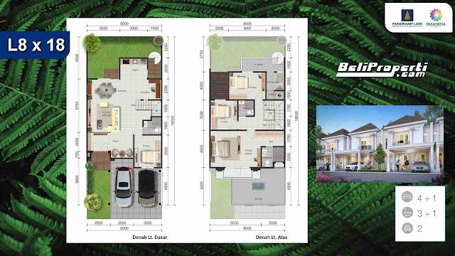 layout rumah pasadena paramount serpong
