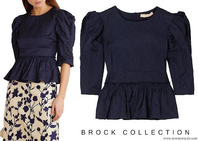 Crown Princess Mette-Marit wore Brock Collection Metallic crinkled-twill peplum blouse