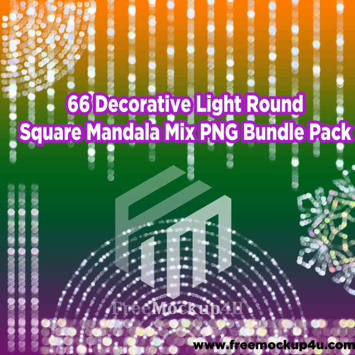 66 Decorative Light Round Square Mandala Mix PNG Bundle Pack
