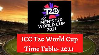 आई.सी.सी टी20 वर्ल्डकप टाइम टेबल-2021   ICC T20 World Cup Time Table- 2021