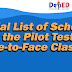 Initial List of School for the Pilot Test of Face-to-Face Classes