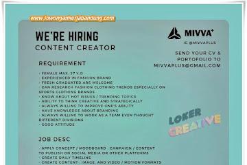 Loker Bandung Content Creator Mivva Plus