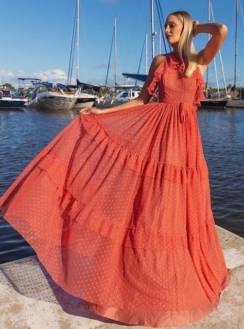 vestido longo terracota poas para madrinha de casamento dia