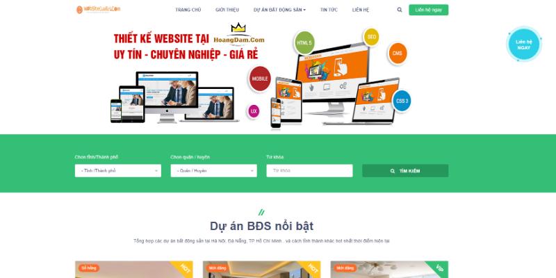 Mẫu website mua bán nhà đất miễn phí