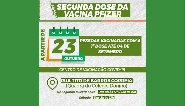Pessoas vacinadas com primeira dose da Pfizer até 04 de setembro são convocadas para segunda dose