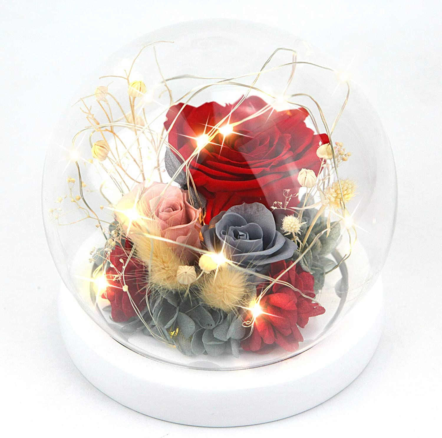 preserved roses with LED mood lights