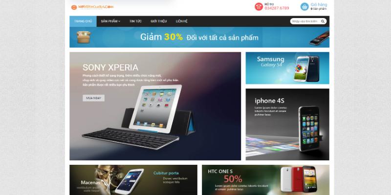 Mẫu website bán điện thoại miễn phí