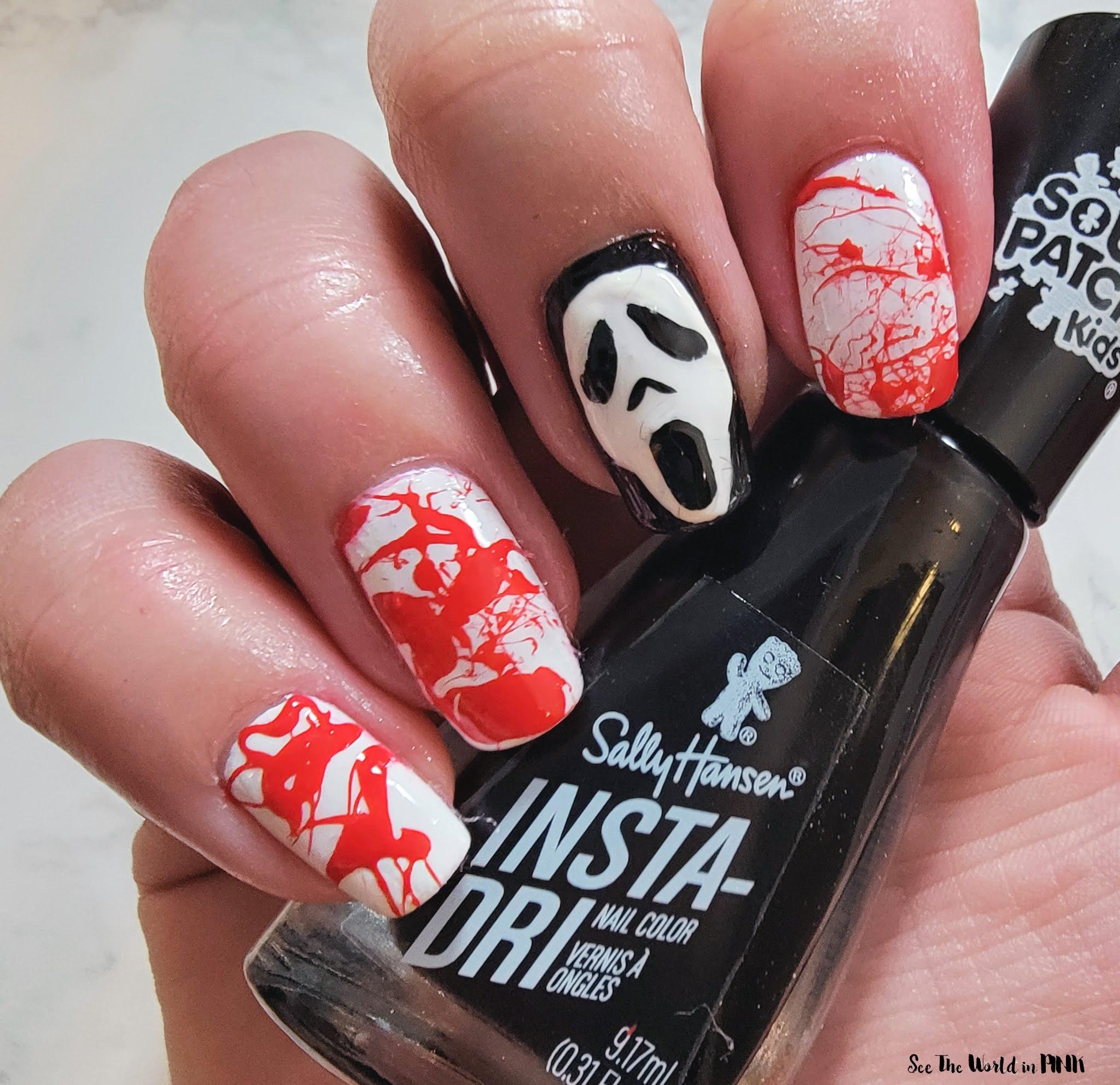 Manicure Monday - Scream Ghostface Killer & Blood Splatter Nails