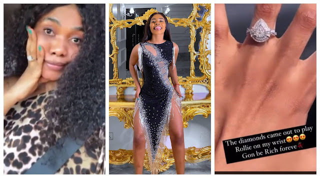 The comment you are looking for is not here, move on - Jane mena says as she shows off her wedding ring in response to Tonto Dikeh's claim of her calling her to save her marriage (Video)