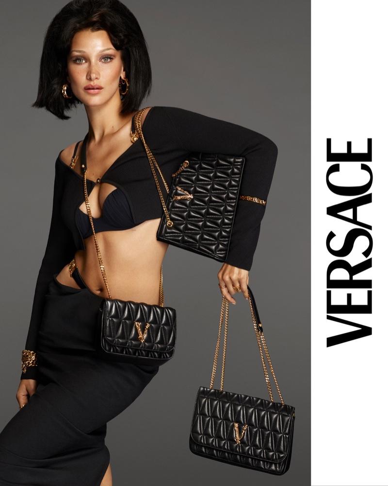 Bella Hadid stars in the Versace Virtus Handbag Campaign 2021