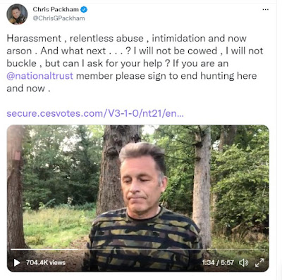 Chris Packham's tweet with a video still of himself and text explaining the arson