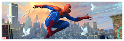 """New York Comic Con 2021 Exclusive Spider-Man """"Spider-Scape"""" Giclee Prints by Pablo Olivera x Bottleneck Gallery x Marvel Comics"""