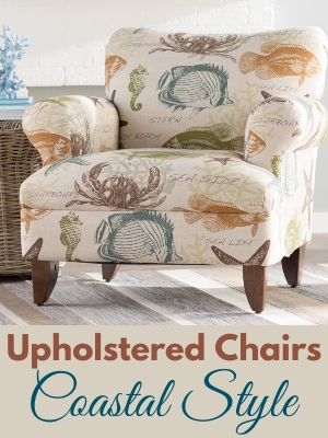 Coastal Fabric Upholstered Accent Chairs