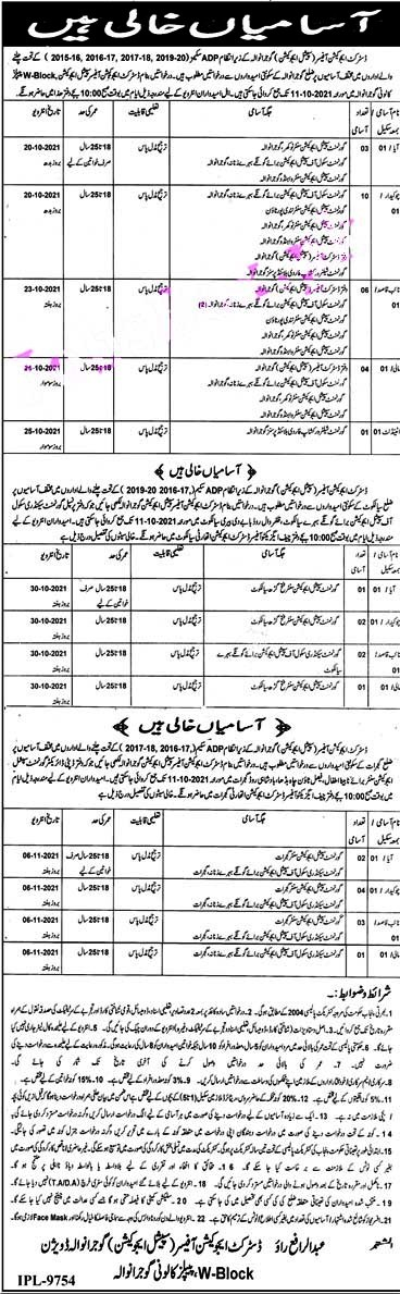 District Education Authority Gujranwala Latest Jobs 2021