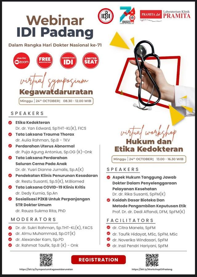 "(Free SKP IDI) Virtual Symposium dengan tema ""Kegawatdaruratan"" &  Virtual Workshop dengan tema "" Hukum dan Etika Kedokteran"""